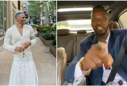 """R.Westbrooką su sijonu pamatęs K.Brownas pratrūko: """"Jei čia heteroseksualaus vyro elgesys, tai jis gali užsikrušti"""""""