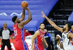 """NBA lyderių susitikime – """"76ers"""" pergalė po pratęsimo"""