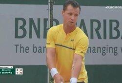 """Kova dėl istorinės pergalės """"Roland Garros"""" turnyre: R.Berankis – H.Dellienas 5:0 (mačas sustabdytas dėl lietaus)"""