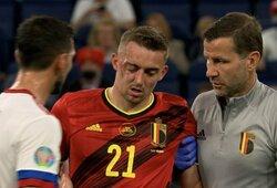 """""""Euro 2020"""" T.Castagne baigėsi vos prasidėjęs: belgas patyrė dvigubą akiduobės lūžį"""