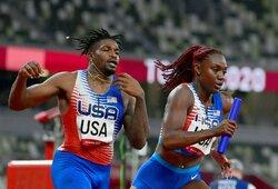 JAV lengvaatlečiai iškrito iš kovos dėl medalių: atbėgo pirmi ir buvo diskvalifikuoti