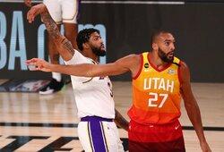 """""""Lakers"""" pirmąją vietą Vakaruose užtikrino A.Daviso tritaškis su pražanga"""