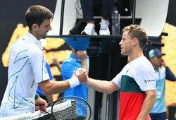"""Už puikų tašką varžovą pagyręs N.Djokovičius 11-ą kartą žengė į """"Australian Open"""" ketvirtfinalį"""