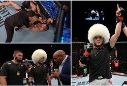 Galingas Ch.Nurmagomedovo pusbrolio debiutas UFC: smaugė varžovą, kol šis prarado sąmonę