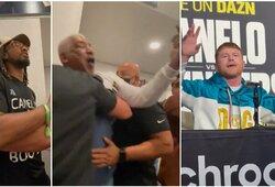 """S.Alvarezas spaudos konferencijoje įsivėlė į konfliktą su pasaulio čempionu: """"Dink iš čia, kol aš tavęs neišp****, močkrušy"""""""