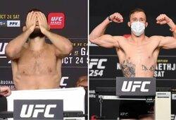 """""""UFC 254"""" svėrimai: pirmasis pasisvėręs Ch.Nurmagomedovas tai darė nuogas, kova dėl titulo oficialiai patvirtinta"""