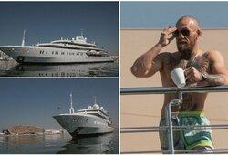 """C.McGregoras į """"kovų salą"""" atvyko stilingai: išsinuomavo įspūdingo dydžio jachtą ir pavėlavo vieną dieną"""
