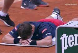 Nugaros skausmus kentęs R.Berankis neprilygo N.Djokovičiui