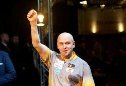 """D.Labanausko debiutas prestižiniame """"World Series of Darts Finals"""" turnyre pažymėtas pergale"""