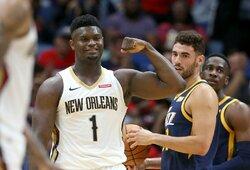 """Skaudus smūgis """"Pelicans"""": paaiškėjo, kiek laiko nežais pirmasis NBA naujokų biržos šaukimas Z.Williamsonas"""