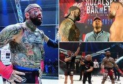 """UFC legenda be pirštinių susikovė su """"žmogumi – grafiti siena"""": narve užvirė tikras karas"""