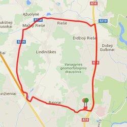 Bėgimo trasa Visoriai - Didžioji Riešė