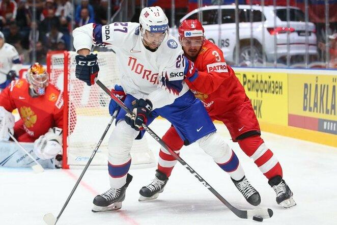 Rusų ir norvegų rungtynės | IIHF nuotr.