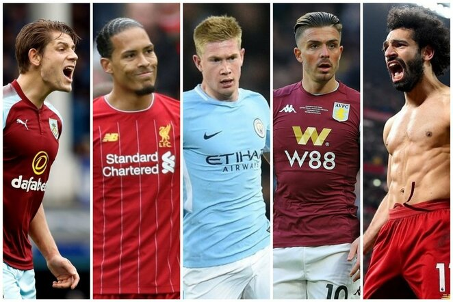 James Tarkowski, Virgil van Dijk, Kevin de Bruyne, Jack Grealish, Mohamedas Salah | Scanpix nuotr.