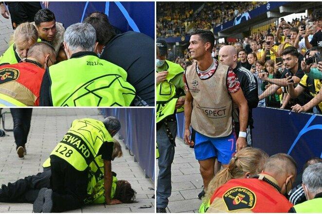 Po C.Ronaldo smūgio – sukniubęs apsaugos darbuotojas | Scanpix nuotr.