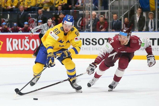 Latvių ir švedų rungtynės | IIHF nuotr.