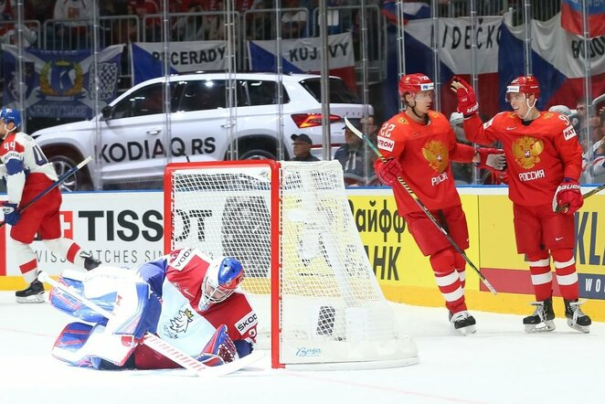 Rusijos ir Čekijos rungtynių akimirka | IIHF nuotr.