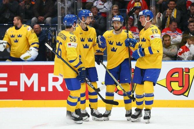 Švedų ir austrų rungtynės | IIHF nuotr.