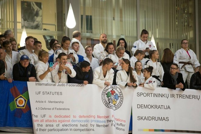 Lietuvos dziudo čempionate – masinis protestas prieš federacijos prezidentą Mariaus Vizbaro / BNS foto nuotr.