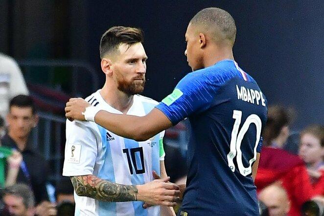 Lionelis Messi ir Kylianas Mbappe   Scanpix nuotr.