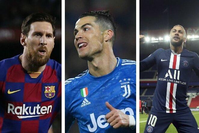 Lionelis Messi, Cristiano Ronaldo ir Neymaras | Scanpix nuotr.