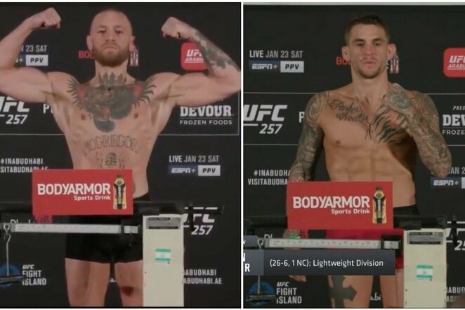 Conoras McGregoras ir Dustinas Poirier | Youtube.com nuotr.