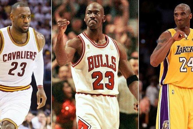 LeBronas Jamesas, Michaelis Jordanas ir Kobe Bryantas | Organizatorių nuotr.