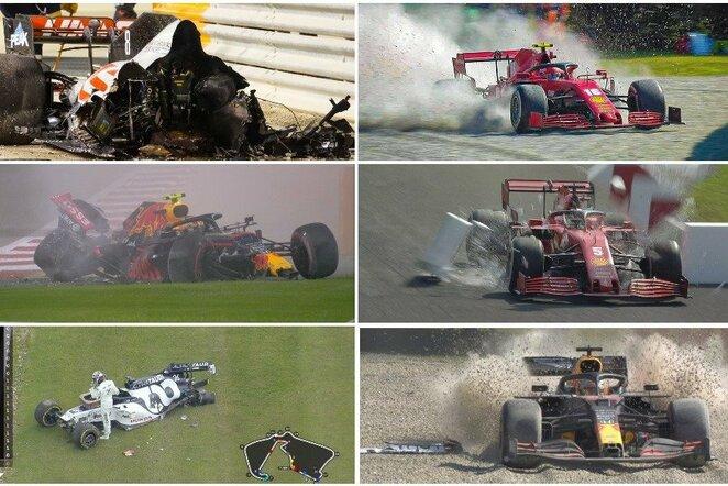 """""""F-1"""" nelaimėliai: kuris lenktynininkas 2020 m. savo komandai pridarė daugiausiai nuostolių?   """"Scanpix"""" ir instagram.com nuotr."""