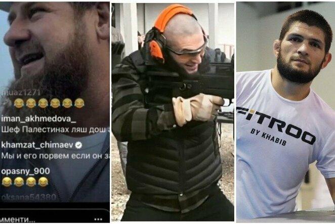 """Ramzanas Kadyrovas, Chamzatas Čimajevas ir Chabibas Nurmagomedovas   """"Twitter"""" nuotr."""