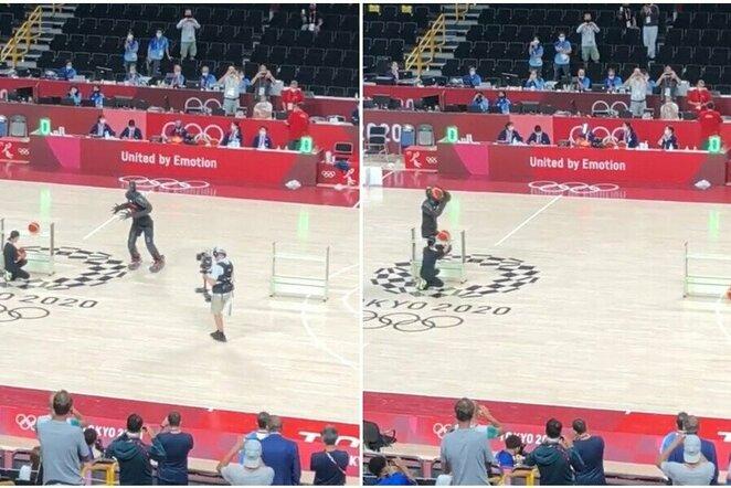 """Krepšinio robotas Tokijo olimpiadoje   """"Twitter"""" nuotr."""