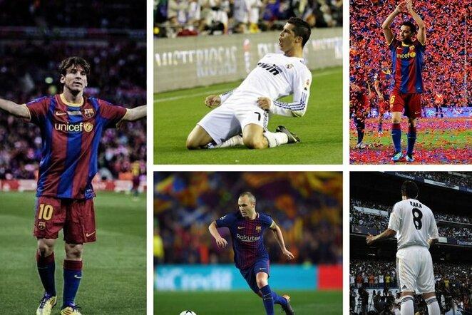 "Lionelis Messi, Cristiano Ronaldo, Xavi, Andresas Iniesta ir Kaka  | ""Twitter"" nuotr."