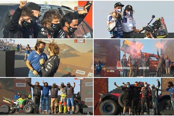 Lietuviai Dakaro finišo podiume   Youtube.com nuotr.