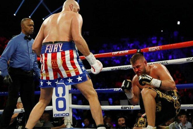 Tysono Fury ir Tomo Schwarzo kovos akimirka   Scanpix nuotr.