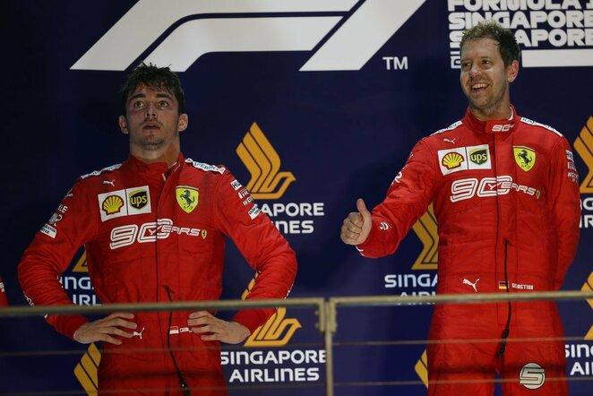 Charlesas Leclercas ir Sebastianas Vettelis   Scanpix nuotr.