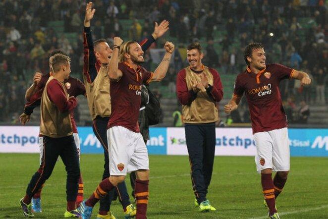 """""""Roma"""" džiaugiasi devinta pergale iš eilės   AP/Scanpix nuotr."""