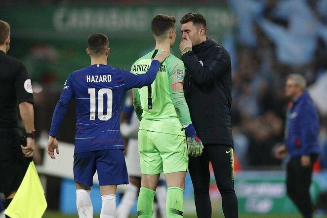Edenas Hazardas ir Kepa Arrizabalaga   Scanpix nuotr.