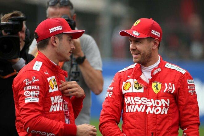 Charlesas Leclercas ir Sebastianas Vettelis | Scanpix nuotr.