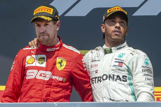Sebastianas Vettelis ir Lewisas Hamiltonas | Scanpix nuotr.
