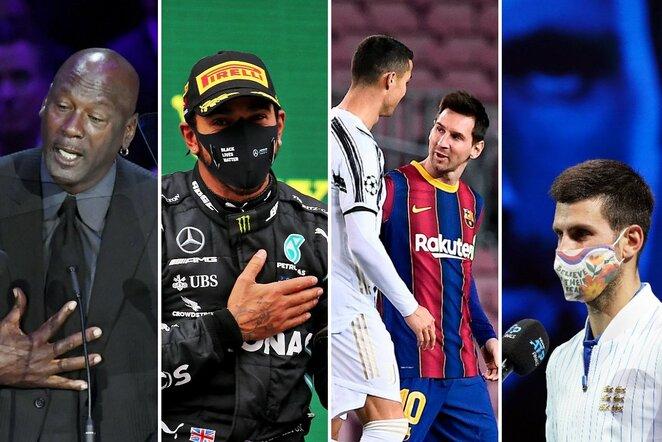 Michaelas Jordanas, Lewisas Hamiltonas, Cristiano Ronaldo su Lioneliu Messi ir Novakas Djokovičius   Scanpix nuotr.