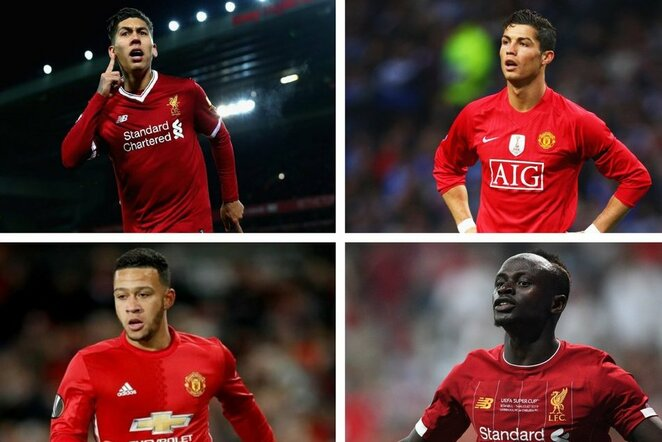 """Roberto Firmino, Cristiano Ronaldo, Memphis Depay'us ir Sadio Mane   """"Twitter"""" nuotr."""