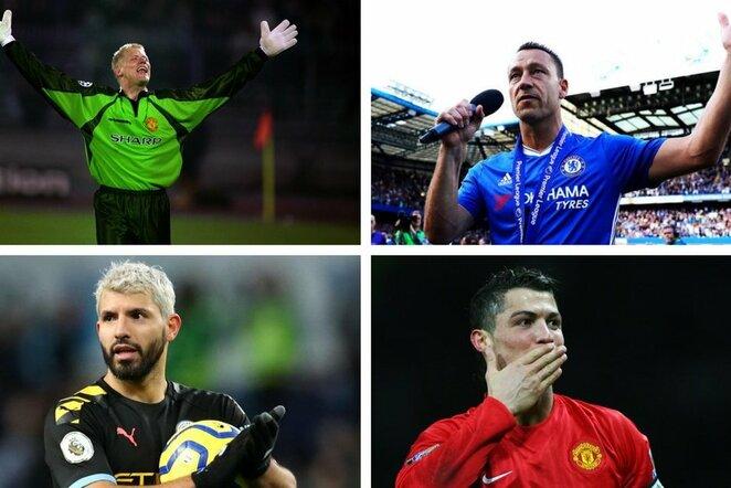 "Peteris Schmeichelis, Johnas Terry, Sergio Aguero ir Cristiano Ronaldo | ""Twitter"" nuotr."