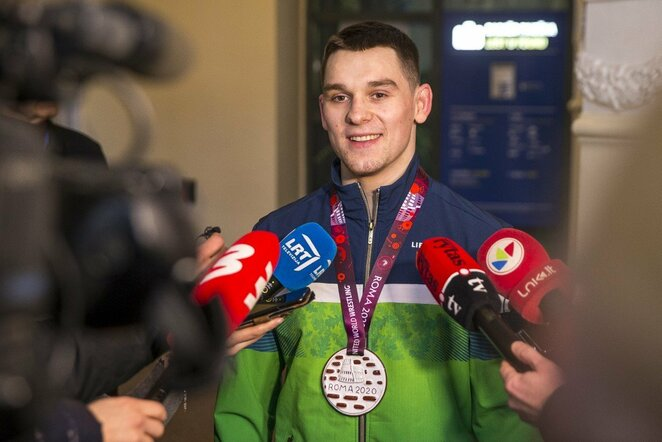Kristupas Šleiva grįžo su Europos imtynių čempionato medaliu | Roko Lukoševičiaus/BNS Foto nuotr.