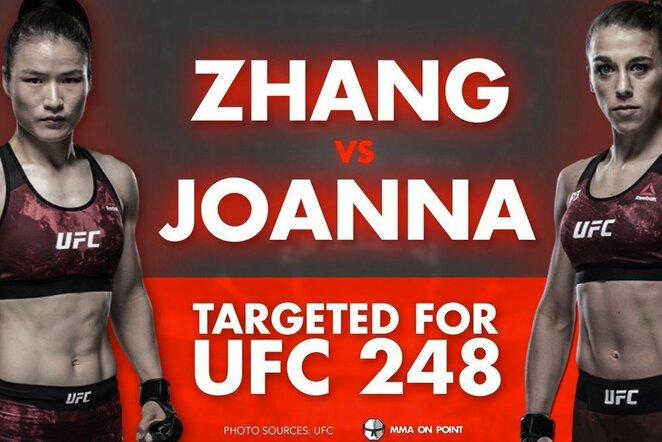 """Weili Zhang ir Joanna Jedrzejczyk   """"Twitter"""" nuotr."""