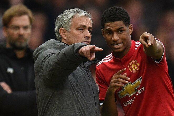 Jose Mourinho ir Marcusas Rashfordas   Scanpix nuotr.