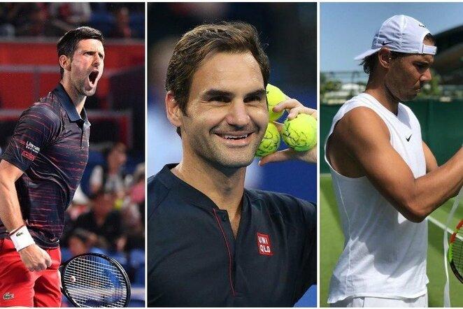 Novakas Djokovičius, Rogeris Federeris ir Rafaelis Nadalis | Instagram.com nuotr