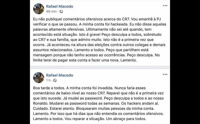 Rafaelio Macedo žinutės Facebook nuotr.