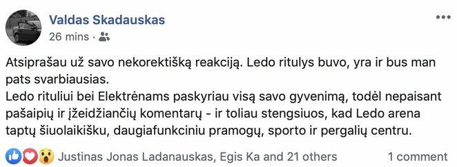 "V.Škadausko įrašas   ""Facebook"" nuotr."