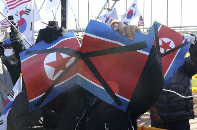 Protestas prieš Korėjų susijungimą olimpinėms žaidynėms | Scanpix nuotr.