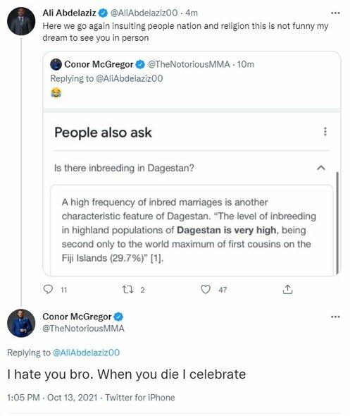 "Conoro McGregoro ir Ali Abdelazizo žinutės   ""Twitter"" nuotr."