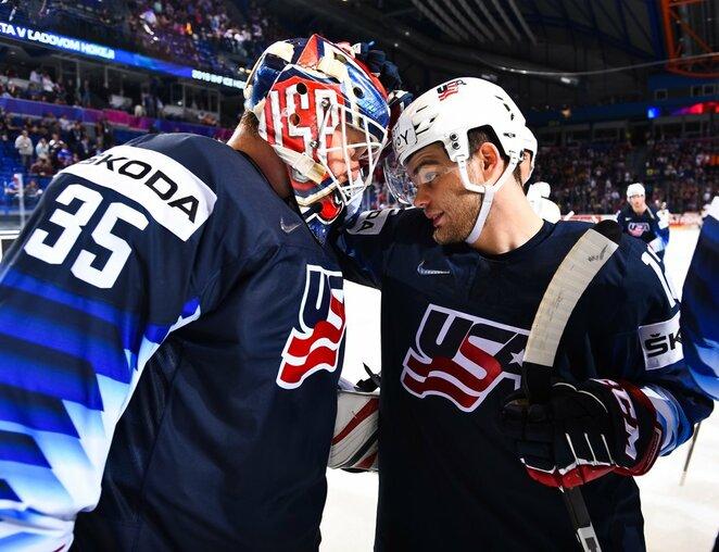 Amerikiečių ir vokiečių rungtynės | IIHF nuotr.